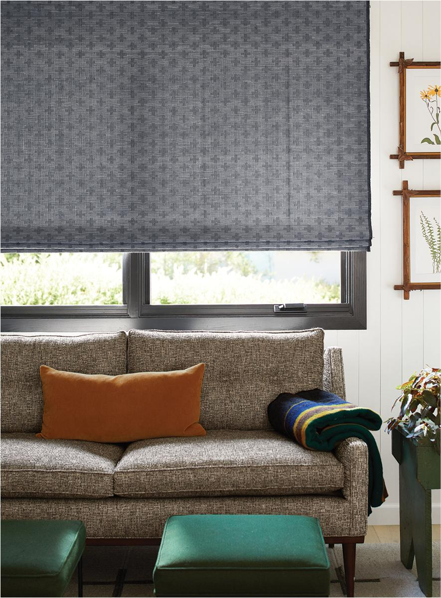 Cross Old Style Roman Shade in Charcoal