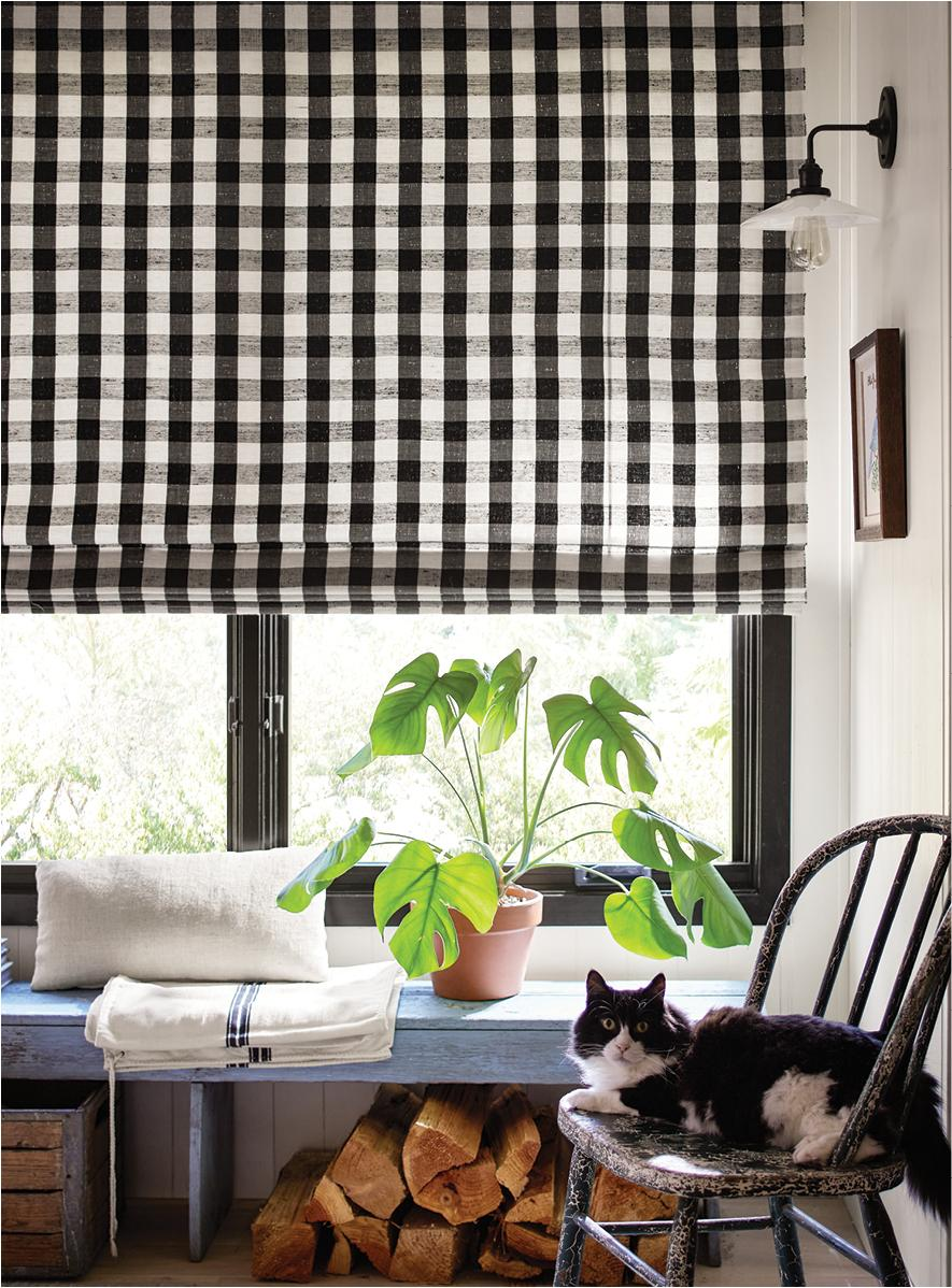 Gingham Old Style Roman Shade in Black